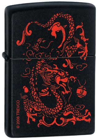 Red Dragon - Black Matte Zippo Lighter