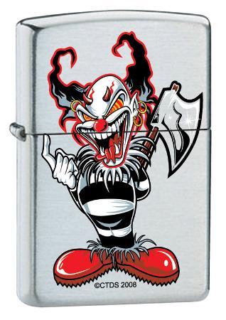 CT Ax Clown - Brush Chrome Zippo Lighter