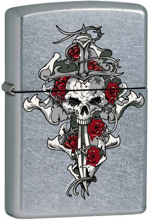 CT Skull Rose Dagger - Street Chrome Zippo Lighter