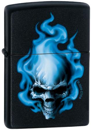 CT Blue Flame Skull - Black Matte Zippo Lighter