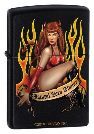 Natural Born Sinner - Black Matte Zippo Lighter