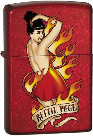 Bettie Page - Candy Apple Red Zippo Lighter