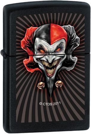 CT Red Jester - Black Matte Zippo Lighter