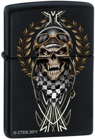 CT Race Skull - Black Matte Zippo Lighter