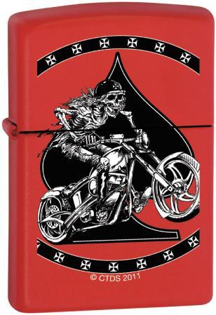 CT Skeleton Biker - Red Matte Zippo Lighter