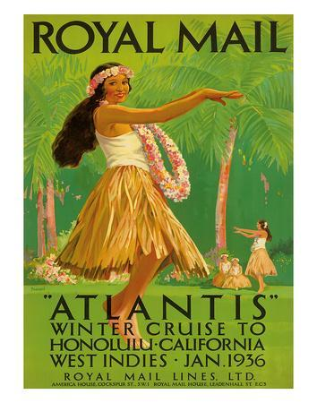 """Hawaii Hula, Royal Mail """"Atlantis"""" c.1936"""
