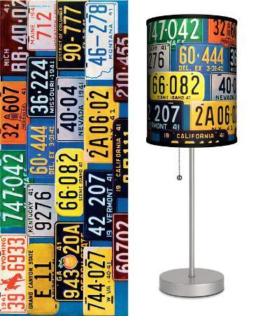 Saturday Evening Post: License Plates - Table Lamp