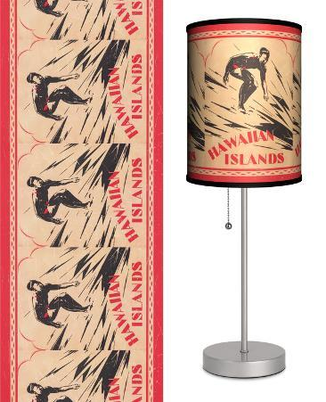 Surfing Hawaiian Islands - Table Lamp