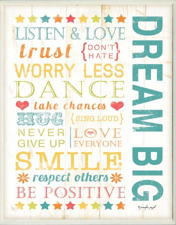 Dream Big Kids Typography Rules Rectangle