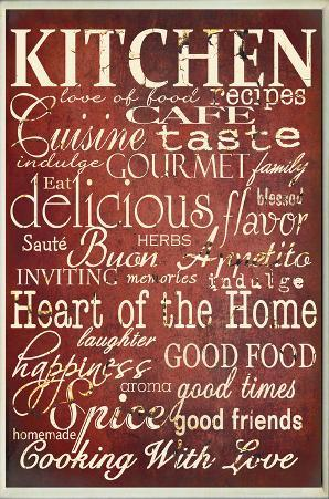 Red Kitchen Words Typography Rectangle