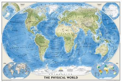 National Geographic - World Physical Map Laminated Poster