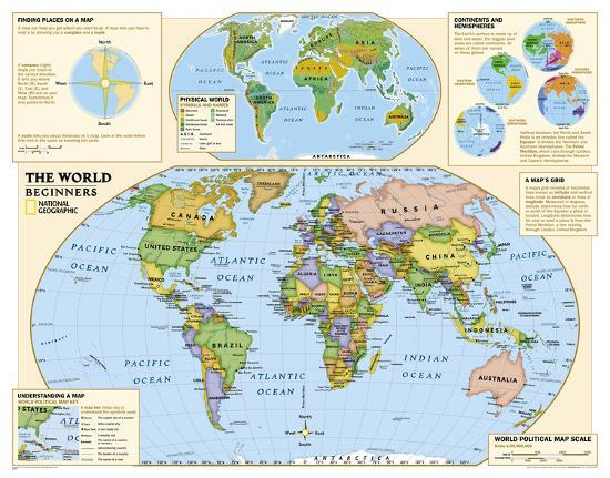 National Geographic - Kids Beginners World Education Map (Grades K-3) Giant  Poster