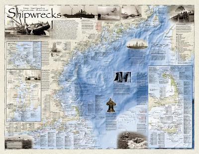 National Geographic - Shipwrecks of the Northeast Map Laminated Poster