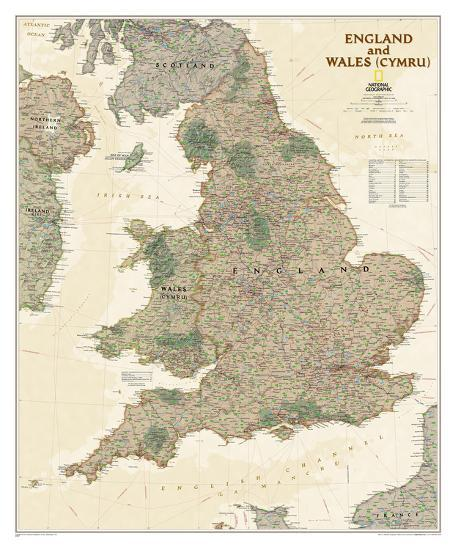 Map Of England Poster.National Geographic England Wales Antique Map Poster