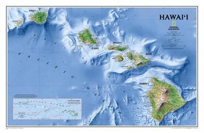 National Geographic - Hawaii Map Laminated Poster