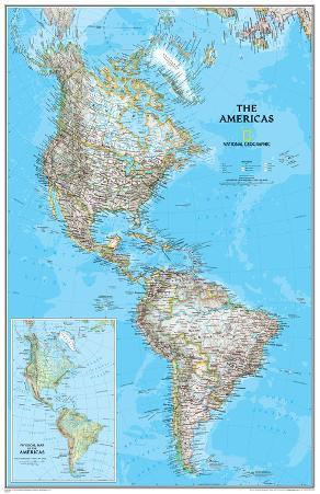 National Geographic - The Americas Classic Map Laminated Poster