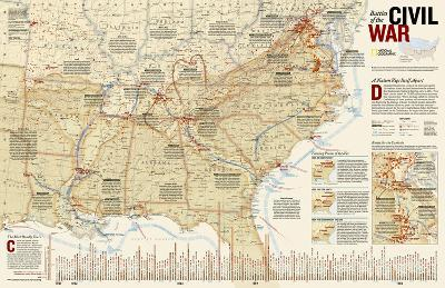 National Geographic - Battles of the Civil War Map Laminated Poster