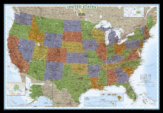 Laminated United States Map.National Geographic United States Decorator Map Enlarged