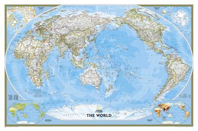 National Geographic World Classic Pacific Centered Map Laminated - Us-centered-world-map