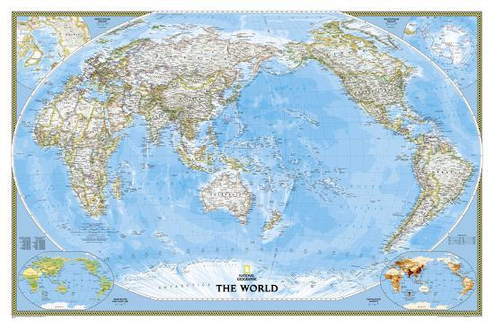 Geographic Map Of World.National Geographic World Classic Pacific Centered Map Enlarged