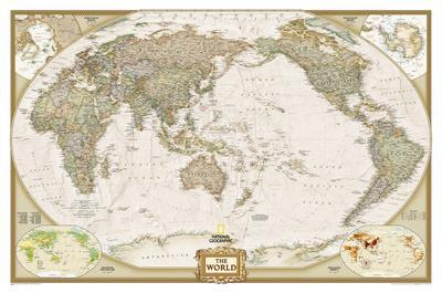 National Geographic - World Executive, Pacific Centered Map, Enlarged & Laminated Poster