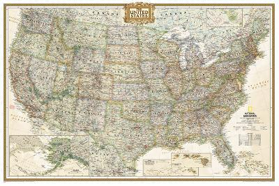 National Geographic - United States Executive, poster size Map Laminated Poster