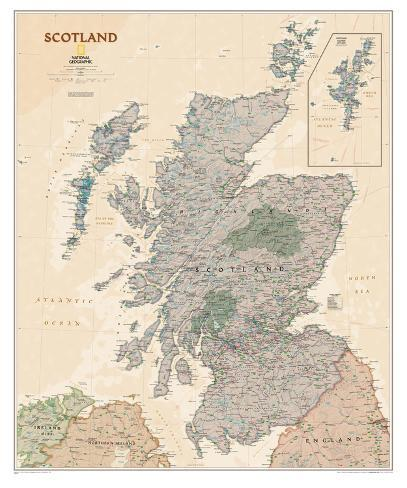 graphic regarding Printable Map of Scotland named Countrywide Geographic - Scotland Government Map Laminated Poster