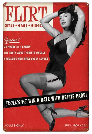 Bettie Page Flirt Metal Sign