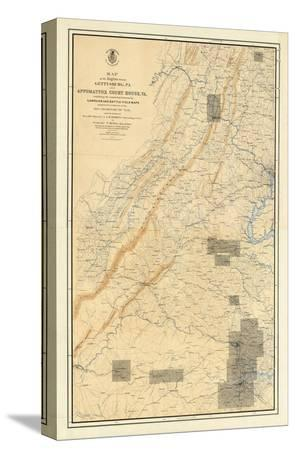 Civil War Map of the Region between Gettysburg and Appomattox Court House, c.1869