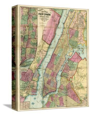 Map of New York and Adjacent Cities, c.1874