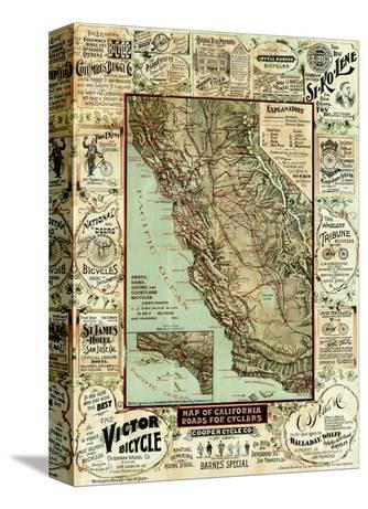 Map of California Roads for Cyclers, c.1896