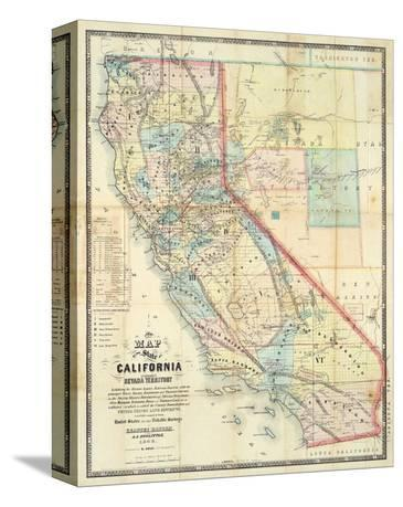 New Map of The State of California and Nevada Territory, c.1863