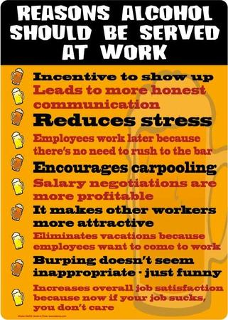 Reasons alcohol should be served at work