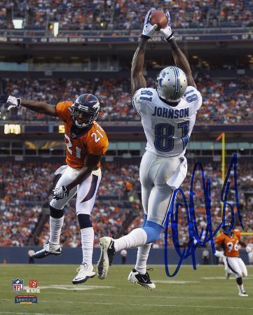 Calvin Johnson Detroit Lions vs Denver Broncos Autographed Photo (Hand Signed Collectable)