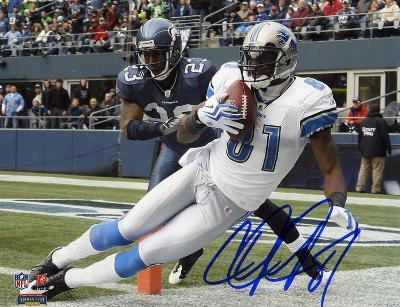 Calvin Johnson Detroit Lions vs Seattle Seahawks Autographed Photo (Hand Signed Collectable)