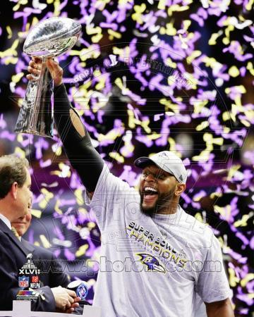 Ray Lewis with the Vince Lombardi Trophy after winning Super Bowl XLVII