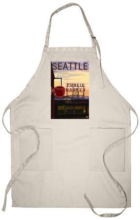 Seattle, Washington - Pike Place Market Sign and Water View Apron