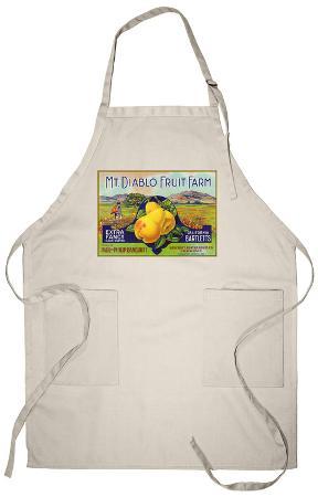 Bancroft, California, Mt. Diablo Fruit Farm Brand Pear Label Apron