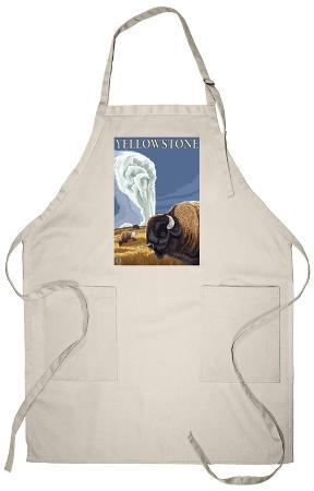 Yellowstone - Bison with Old Faithful Apron