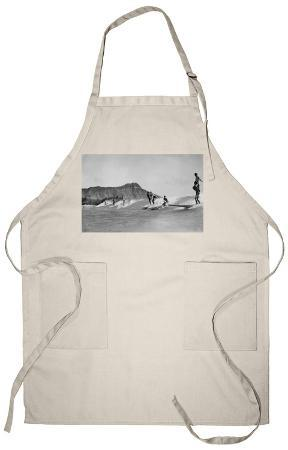 Honolulu, Hawaii - Surfers off Waikiki Beach Photograph Apron