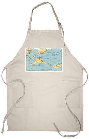 Massachusetts - Detailed Map of Martha's Vineyard and Nantucket Islands Apron