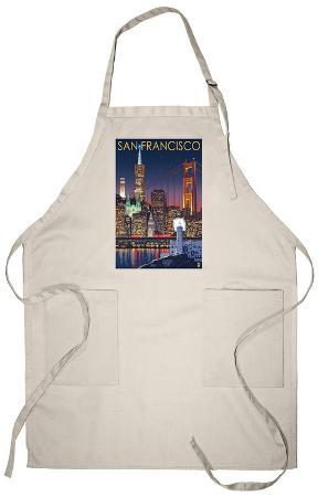 San Francisco, California Skyline at Night Apron