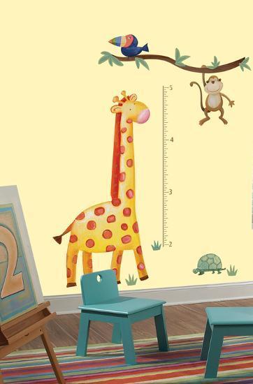 Jungle Adventure Giraffe Peel Stick Growth Chart Wall Decal Wall