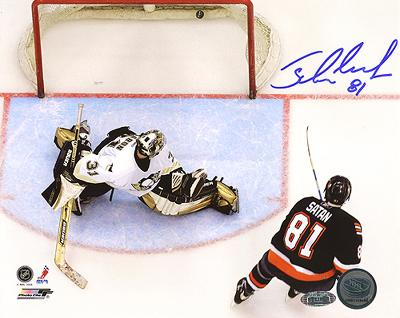 Miroslav Satan Shootout Goal vs Penguins Autographed Photo (Hand Signed Collectable)