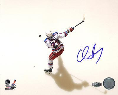 Chris Drury Rangers White Jersey Slap Shot Overhead Autographed Photo (Hand Signed Collectable)