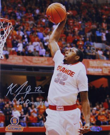 "Kris Joseph Syracuse White Jersey Dunk ""Go Orange"" Insc. Autographed Photo (H& Signed Collectable)"