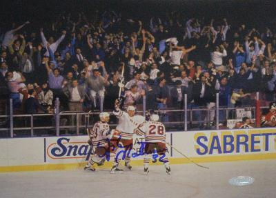 Stephane Matteau Game 7 GWG Celebration Autographed Photo (Hand Signed Collectable)