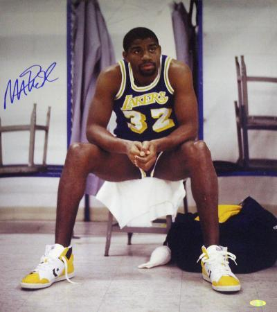 Magic Johnson Sitting on Chair Lakers Purple Jersey Autographed Photo (Hand Signed Collectable)