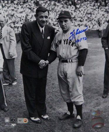"Yogi Berra Signed Standing With Babe Ruth w/ ""HOF 1972"" insc"