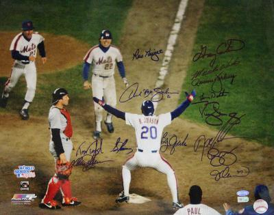 1986 Mets Multi Signed of Johnson at Home Plate Autographed Photo (Hand Signed Collectable)